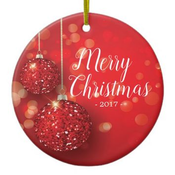 Festive Red Merry Christmas Ornament