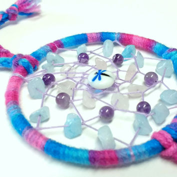 Pink & Blue Multicolor Dragonfly Crystals Dream Catcher