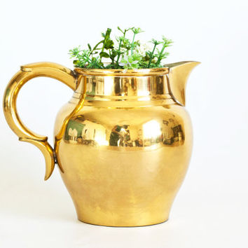 Vintage Ethan Allen Solid Brass Pitcher, Heavy Solid Metal Gold Tone Home Decor, Hollywood Regency