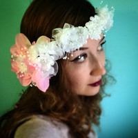 White and pink flower crown