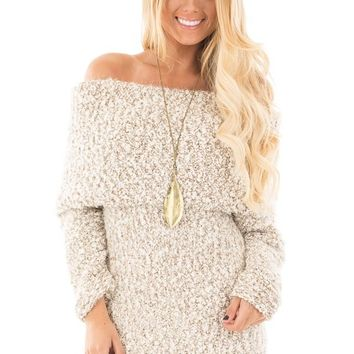 Cream and Taupe Two-Tone Off Shoulder Chunky Knit Sweater