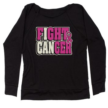 I Can Fight Cancer Slouchy Off Shoulder Oversized Sweatshirt