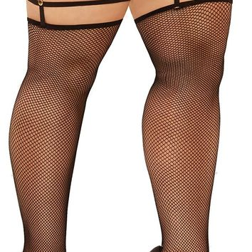 Sexy Cardi B Plus Size Fishnet Thigh Highs with Attached Leg Harness
