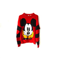 80s classic mickey mouse jumper . novelty knitwear . small to medium fit . etsy uk