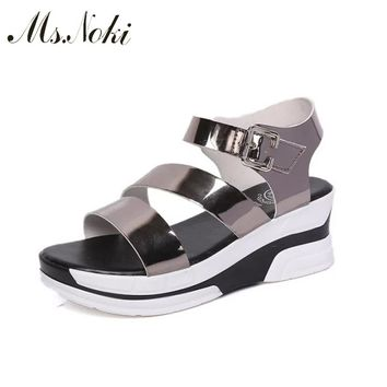2018 2018 Summer women sandals wedges sandals ladies open round toe buckle strap black silver platform sandals shoes Ms Noki