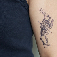 alice in wonderland rabbit temporary tattoo