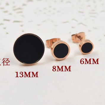 Simple Round Black Glue Couple Titanium Earrings   171205
