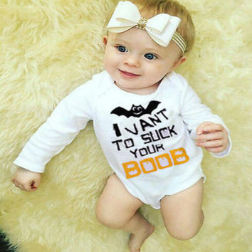 Cute Baby Bat Boys Girls Clothes Bodysuit Romper Jumpsuit Outfits Halloween CA