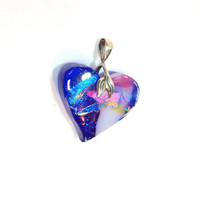 Dichroic Jewelry Fused Glass Mosaic Heart Pendant  Glass  Necklace Heart Shaped  Statement Jewelry 183