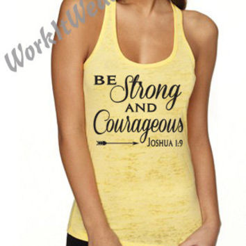 Christian Tank Top. Be Strong and Courageous Joshua 1:9 Motivational Workout Tank. Running Tank. Yoga Tank. Womens Fitness Shirt. WorkItWear