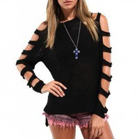 Open Arms Loose Knit Sweater in Black
