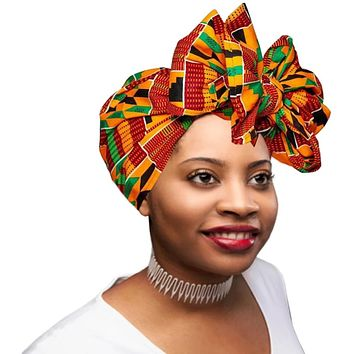 "🎁 ONE DAY SALE - KENTE Extra Long 72""×22"" Headwrap ANKARA Dashiki African Print Head Wraps/Scarfs for Women - Green, Black and Orange  Headwrap Tie Hat - Ethnic Tribal"