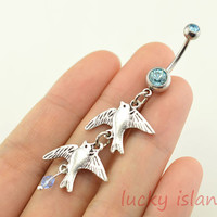 belly ring,bird belly button rings,bellybutton jewelry,navel ring,bird bellyring,friendship bellyring