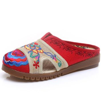 Vintage Women Slippers Hemp Sandals Summer Embroidered Linen Tendon Embroidery Old Shoes