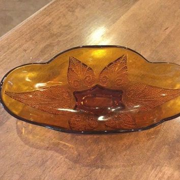 Vintage Pressed Glass Amber Oval Serving Bowl Candy Dish Beaded Heart 10 in EUC