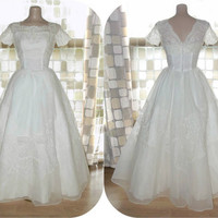 Vintage 50s Sheer Organza & Lace Full Sweep Wedding Dress Bridal Gown Small 4/6