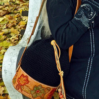 Crochet and Leather Bag, Drawstring and Hand Tooled Leather Cradle Bag
