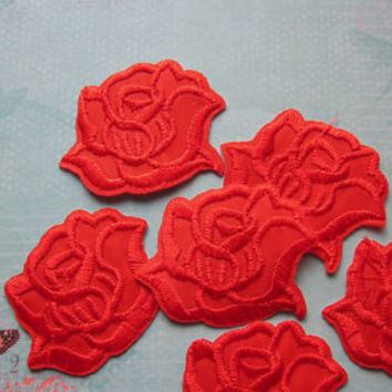 4 Pieces of Embroidered Red Rose Iron on Patches Free shipping