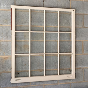 "Vintage 12 Pane Window Frame - 36"" x 40L"", White, Rustic, Antique, Wedding, Beach Decor, Photos, Pictures, Engagement, Holiday, Business"