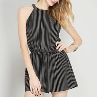 Halter Neck Striped Romper
