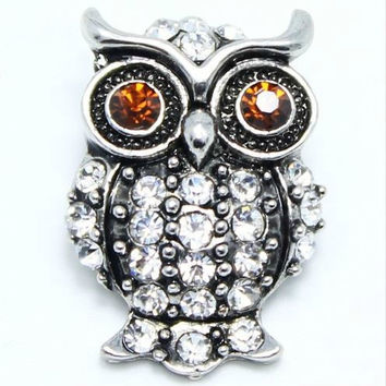 Rhinestone Brown Owl Snap 20mm for Snap Jewelry (1798)