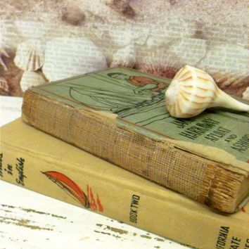 Beach Nursery,Beach Decor,Nautical Books,Sailing Theme,Childrens Room Decor, Old Books