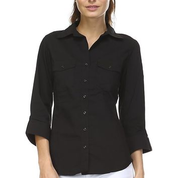 Women's Woven + Knit Button Down Shirt