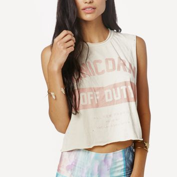 UNICORN OFF DUTY CROP MUSCLE TEE