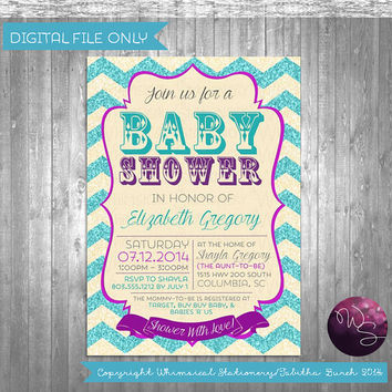 "Baby Shower Invitation ""Glitter Chevron"" Collection (Printable File Only) Baby Shower Boy; Baby Shower Girl; Elegant Fun Baby Shower"