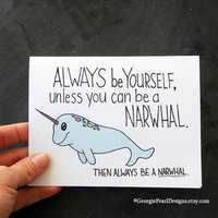 Narwhal Greeting Card - Sea Unicorn - Unique Card - Hand Illustrated Greeting Card.
