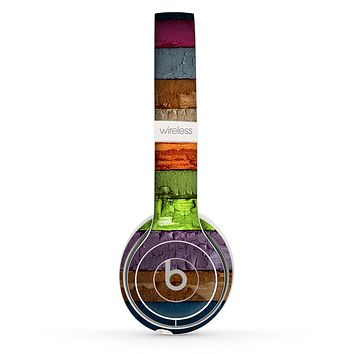 The Bright Colored Peeled Wood Planks Skin Set for the Beats by Dre Solo 2 Wireless Headphones