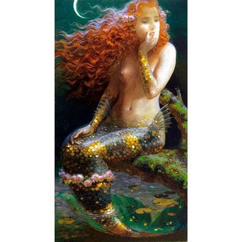 The Nude Mermaid Oil painting Canvas Print Art abstract aesthetic home decor 12x22 inch M10