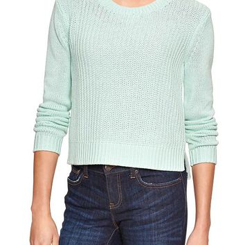 Gap Women Factory Cropped Crewneck Sweater