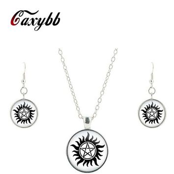 Supernatural Sam Dean Winchester Seal Silver glass jewelry set glass necklace friendship pendant earrings jewelry CS63