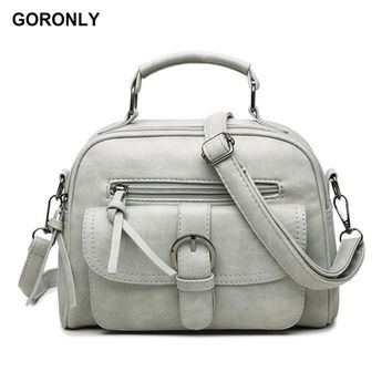 GORONLY Brand Fashion Leather Handbag Women Vintage Floral Shoulder Bag Female Designer Crossbody Bags Ladies High Quality Totes