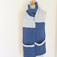 Unisex Long Scarf, Women Pocket Scarf in blue, Men Pocket scarf in Blue, Knitted Pocket Scarf, White and Blue Scarf with Pockets, UK Seller