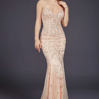 Blush Beaded Prom Dress 33704