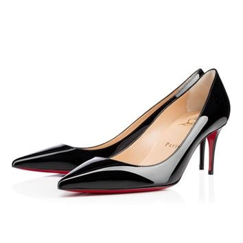 Best Online Sale Christian Louboutin Cl Decollete 554 Black Patent Leather 70mm Stiletto Heel Classic
