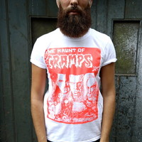 THE CRAMPS HAUNT OF THE T-SHIRT NEON VTG ORABGE WHITE PSYCHOBILLY ROCKABILLY