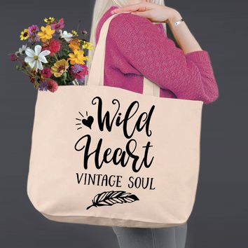 Wild Heart Vintage Soul | Personalized Canvas Tote Bag