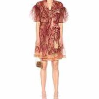 Printed silk and tulle dress