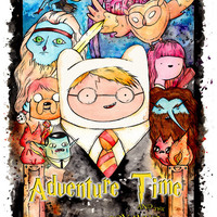Harry Potter Adventure Time Mashup Poster 13x19 inch inkjet print. Watercolor painting, fan art.