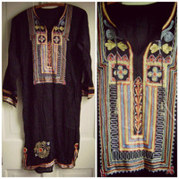 embroidered hippie kaftan dress vintage black maxi dress boho ethnic tunic festival clothing india cotton dress indian gypsy dress s/m