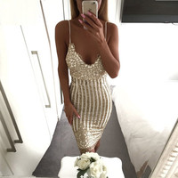 Sexy Party Night sequin summer dress 2017 Women V neck elegent vintage dresses Shinning Gold sequined Flower Lace Mesh vestidos