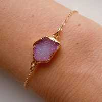 Druzy Bracelet in Peony Pink by 443Jewelry on Etsy