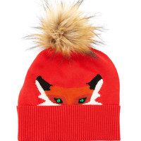 fox beanie hat with rhinestone detail, Size: ONE SIZE, red - kate spade new york