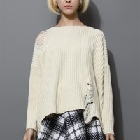 Shredded Knit Sweater in Off-White