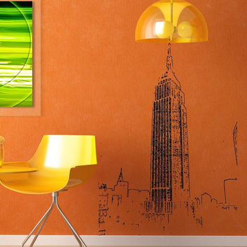 Empire state building vintage art old NY New York Wall Mural Decal vm47