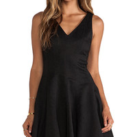 Greylin Ava Python Fit n Flare Dress in Black