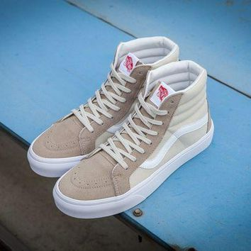 MDIGBE6 Vans Vault Og Sk-Hi Lx Creamy-white High Top Sneaker Flats Shoes Canvas Sport Shoes